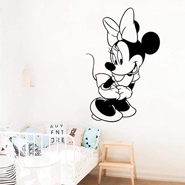 JiuJiu Yan Lovely Cartoon Character Vinyl Sticker Minnie Mouse Wall Art Decal Girl Nursery Kids Bedroom Kindergarten Decoration Decals27x42cm