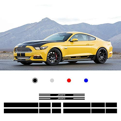 carado Racing Body Side Stripe Skirt Roof Hood Decal Sticker for Ford Mustang 2015-2017 Vinyl Sport Badge Car Styling Accessories Black 1 Pair