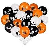 Pulchram 100 PCS de Globos de Halloween Calabaza Fantasma Negro Naranja Blanco Decoración de Fiesta de Halloween