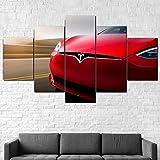 Cuadros Impresos En Lienzo Que Brillan En La Oscuridad 100X55Cm 5 Piezascoche Eléctrico Tesl Model S Premium Lienzo De Tejido No Tejido Xxl