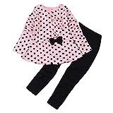 Sunenjoy 2 PCs Enfant Infantile Bébé Filles Long Manchon Points Imprimer Vêtements Arc Retour au début T-Shirt + Pantalon Tenues Ensemble (3 Ans, Rose)