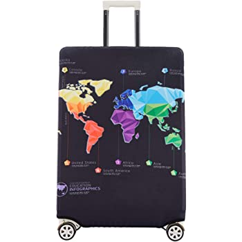 Luggage Protective Covers with Skull Tile Print Washable Travel Luggage Cover 18-32 Inch