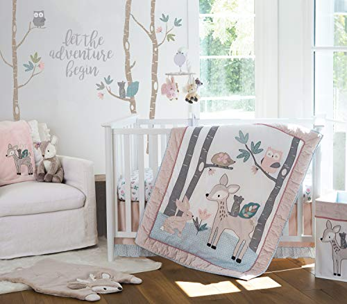 Levtex Baby - Everly Crib Bed Set - Baby Nursery Set - Aqua Blush Grey Teal - Woodland Deer and Friends - 5 Piece Set Includes Quilt, Fitted Sheet, Diaper Stacker, Wall Decal & Bed Skirt/Dust Ruffle