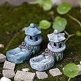 Miniatur Ornament Mikro-Landschaft Feengarten Dekor, Pavillon mit einem Teich, Mini Retro Teich Turm Craft Fairy Garden Decor Figuren Spielzeug Mikro (zufällig)