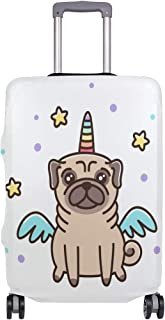 Mydaily Unicorn Pug Dog Luggage Cover Fits 18-32 Inch Suitcase Spandex Travel Baggage Protector