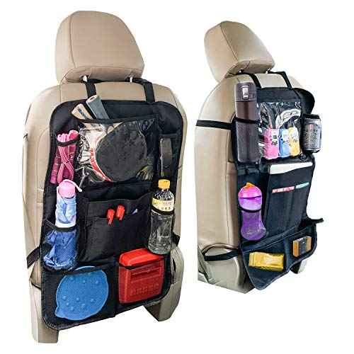 Car Back Seat Organizer and Storage - Passenger Back Seat Organizer - Car Tablet Holder for Kids - Kick Mat Organizer for Kids