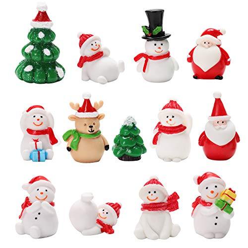 FunPa Christmas Micro Landscape, Mini Fairy Garden Miniature Craft Micro Landscape Ornament Decor Decorazione Natalizia di Babbo Natale