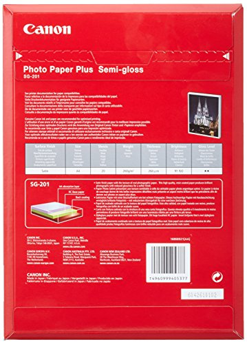 Canon Fotopapier SG-201 Plus Seidenglanz - DIN A4 20 Blatt Seidenmatt für Tintenstrahldrucker - PIXMA Drucker (260 g/qm)
