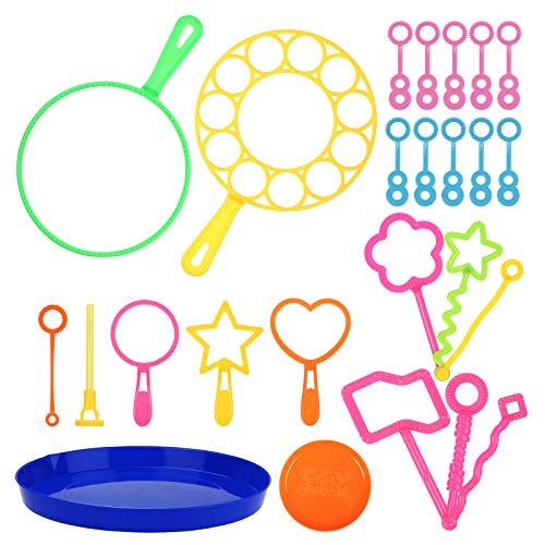 ZERHOK Zestaw 21 szt. pałeczek do baniek mydlanych o wielu kształtach, przenośne, małe i rozmiary, do użytku wewnątrz i na zewnątrz, zabawka na urodziny dziecka, w podróży, na lato