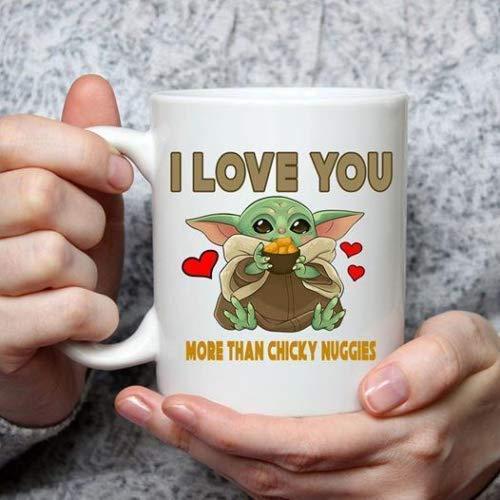 Ich liebe dich mehr als Chicky Nuggies Baby Yoda Valentinstag Kaffeetasse & ndash; Becher