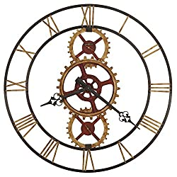 Howard Miller Hannes Wall Clock 625-645 – 49-Inch, Antique Brass Finished Inner Gears & Blackened Antique Red Center, Warm Gray Rings, Modern Home Decor, Quartz Movement