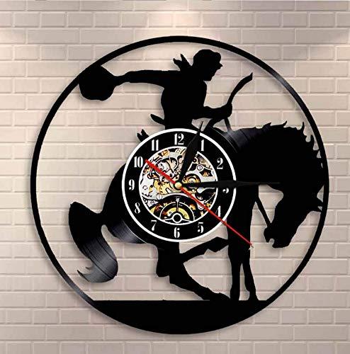 Reloj De Vinilo Colgante Cowboy Wall Art Reloj de Pared Horse Rider Vinyl Record Reloj de Pared Western Wall Decor Rodeo Horse Riding Cowboy Vintage Clock Watch 30cm