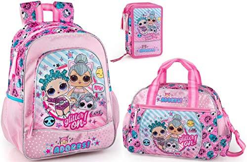 LOL Surprise Rucksack Sporttasche und Federmappe, gefüllt L.O.L. Puppen Mädchen