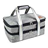 Insulated Expandable Dual Compartment Casserole Carrier for Potluck Parties, Picnic, Beach, Travel, Hiking & Camping. Lasagna Lugger, Thermal Tote Bag for Hot & Cold. Fits 9'x13' baking dishes