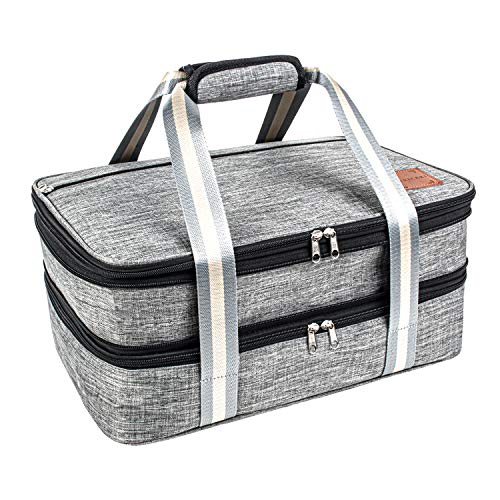 Insulated Expandable Dual Compartment Casserole Carrier for Potluck Parties Picnic Beach Travel Hiking Camping Lasagna Lugger Thermal Tote Bag for Hot Cold Fits 9x13 baking dishes