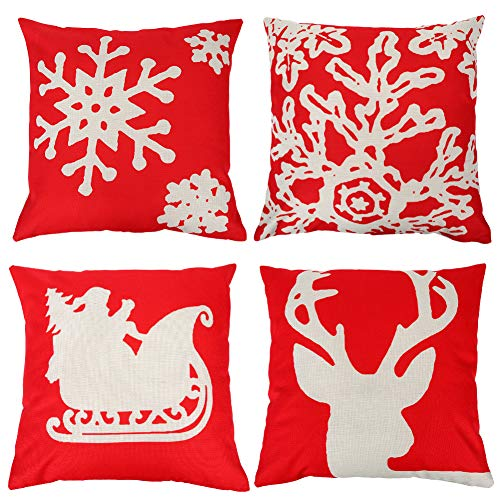 Christmas Throw Pillow Cover, 18'x18' Decorations Throw Pillow Covers with Reindeer Sledge Snowflakes, Throw Pillow Cover Set of 4