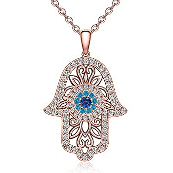 Hamsa Hand Evil Eye Necklace 925 Sterling Silver Rose Gold Plated Vintage Fatima Hand Good Luck Women Pendant Necklace