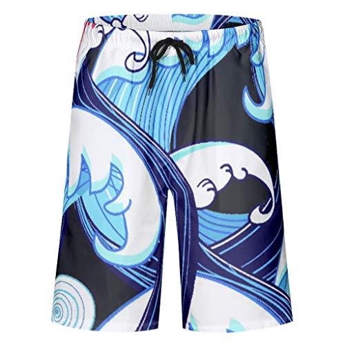 Twelve constellations Bañador para hombre Sea Wave Quck Dry – Pantalones cortos con 2 bolsillos laterales para deportes de playa blanco XL