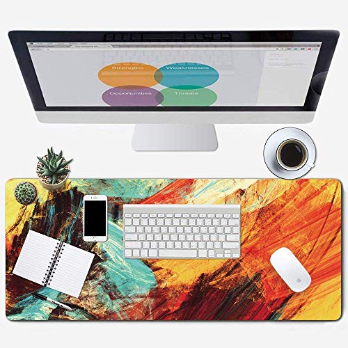 Galdas Gaming Mouse Pad XXL XL Large Mouse Pad Long Extended Mousepad Desk Pad Non-Slip Rubber Mice Pads Stitched Edges Thin Pad (31.5x11.8x0.08 Inch) (Art)