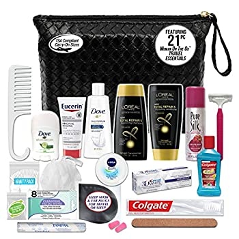 Convenience Kits International Women's Premium 21-Piece Kit with Travel Size TSA Compliant Essentials Featuring  L Oreal Paris Hair Products in Stylish Cosmetic Bag