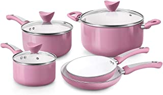FGY 8 Pieces Non-stick Pots Pans Ceramic Coating Cookware Set with Induction Bottom, Multi Cooking Way of Pan and Pot Set-...