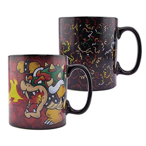 Paladone Bowser Tasse, übergroße Wärmewechsel-Kaffeetasse, 550 ml, Steingut