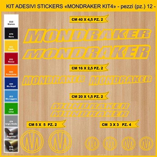 Pimastickerslab Aufkleber Fahrrad MONDRAKER_ KIT4 Kit Aufkleber Stickers 12 Stück – bici Bike Cycle wählbar Cod.0884 (021 GIALLO)