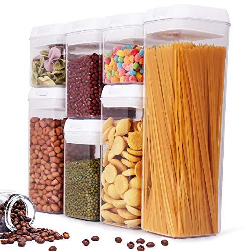 BALCONY & FALCON Lot de 7 boîtes de Conservation Alimentaire sans BPA pour Aliments Boîtes Plastiques Hermétique Ensemble de Récipient à Nourriture pour Spaghetti Epices Bonbons Biscuits etc