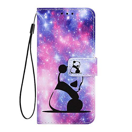 Phcases Cover del Telefono LG W10 Colorata in Pelle Sintetica di qualità Premium Portafoglio in Pelle con Slot per Schede, Chiusura Magnetica-Panda.