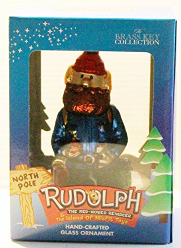 Rudolph The Red Nosed Reindeer Island of Misfit Toys Yukon Cornelius Glass Christmas Ornament