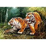 Lazodaer - Kit de pintura de diamante para bricolaje en 5D para decoración de pared de dos grandes tigres de 39,8 x 30 cm