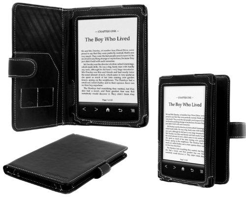 Navitech Negro Funda de piel sintética tipo libro funda protectora para Sony PRS T2 pantalla táctil e-reader (de liberación rápida agosto 2012)