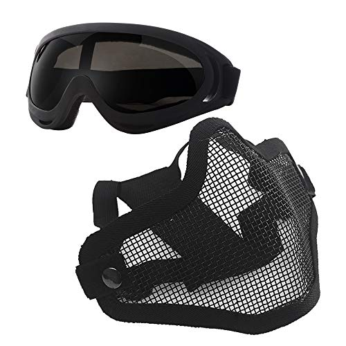 Anyoupin Airsoft Mask and Goggles Set Adjustable Metal Steel Mesh Half Face Mask with Ultra-Violet Protective Outdoor Glasses Goggles for Paintball Shooting Cosplay War Game Black & Gray Goggles