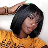 Short Bob Wigs With Bangs Human Hair wigs For Black Women Straight Wigs 100% Brazilian Virgin Hair Glueless Machine Made Wig Natural Color Short Bob Wigs 8 inch