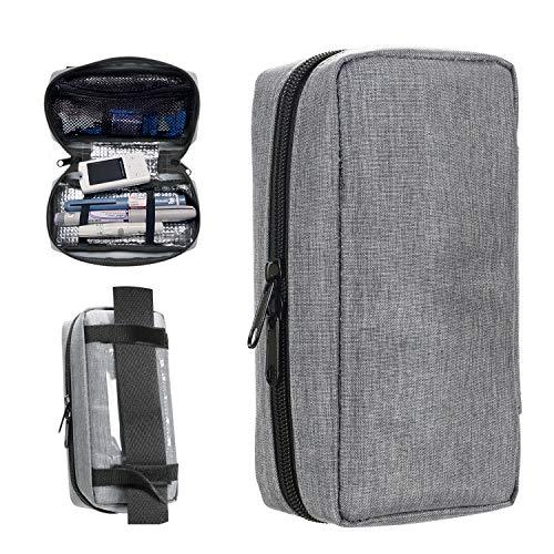 YOUSHARES Insulin kühltasche Reise Tasche - Medikamente Diabetiker Isoliert Tragbaren Kühler Tasche für Insulin Pen und Diabetes kühltasche, Grau