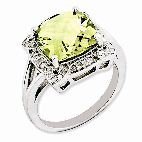 Plata de ley limón cuarzo y anillo de diamantes en bruto - tamaño N 1/2 - JewelryWeb