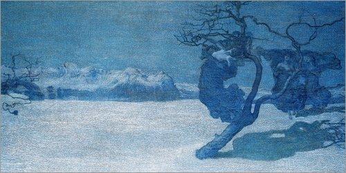Posterlounge Holzbild 80 x 40 cm: Die bösen Mütter von Giovanni Segantini/ARTOTHEK