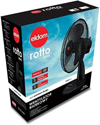 Puissance 40 W Diametre de Grille 30/_cm Ventilateur de Table ELDOM WG40 Noir