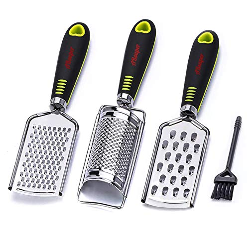 Kitchen Cheese Grater & Lemon Zester, 3 Graters Set, Razor-Sharp Stainless Steel Blade, Ergonomic TPR Handle, Easy to Grate Or Zest Vegetables Fruits Orange Nutmeg Citrus Chocolate Nuts Ginger Garlic