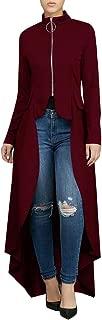 Women's High Low Tunic Jacket Tops Zip Up Long Sleeve Blouse Shirt Dress
