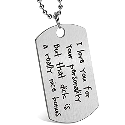 Memories Coding Gift for Boyfriend Husband Personalized Dating Whisper Dog Tag Necklace Pendant Naughty Words Jewelry Couples Keychain Gift for Valentine's Day Anniversary (I'm serious)