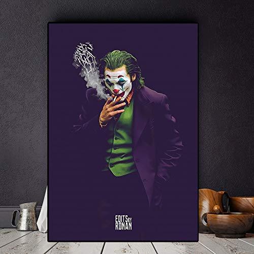 N / A Rahmenlose Malerei Wohnzimmerdekoration des Clownfilms Ölgemäldeplakatwandkunstbild auf LeinwandZGQ5169 40X60cm