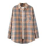 Wave166 Blusa para mujer, monocolor, camisa a cuadros, túnica, tops, camiseta larga, camiseta con bolsillos, camisa de cuadros extragrande básica, abrigo de manga larga para mujer, gris, M