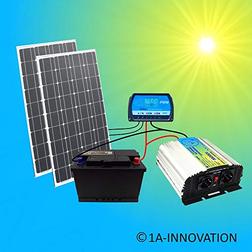 Kit complet pour installation solaire 200 W 220 V TÜV - Batterie 100 Ah - Sans entretien - 2 x 100 W - Haute puissance - Panneau solaire 1000 W