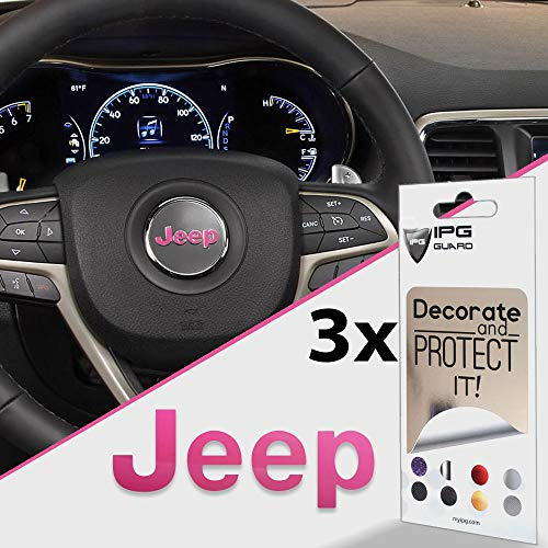IPG for Jeep Steering Wheel Overlay Decal Vinyl Cover Set of 3 for Emblem Do it Yourself Stickers Set Personalize Your Jeep (Pink)