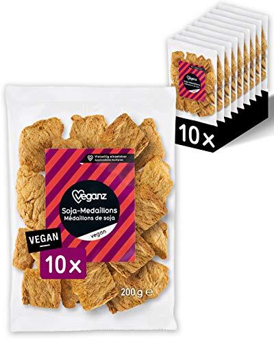 Veganz Soja-Medaillons - würzig und vegan mit Protein - als Fleischersatz zum Kochen - vegetarisches BBQ und für Salat oder Pfannengerichte - 10x 200 GR