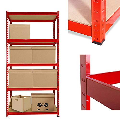 Estantería de 5 niveles para garaje resistente, estantes de almacenamiento multiusos con tableros de MDF y estantes de metal, 150 cm de alto x 70 cm de ancho x 30 cm de profundidad, color rojo
