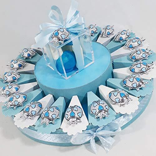 Sindy Bomboniere Bomboniera portaconfetti Battesimo Nascita Primo Compleanno Coccinella Portafortuna Argentata Bimbo - Torta con Oggetti + Confetti +Centrale * (Torta 60 fette 4 Piani)