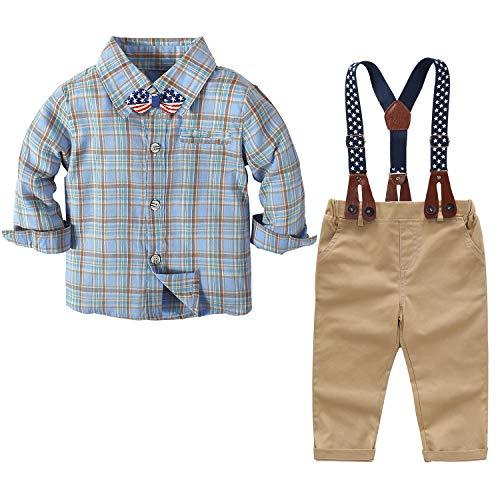Conjunto de roupas para bebês meninos e cavalheiros, camisa xadrez e macacões, roupas bonitas para bebês, Azul, 6-9 meses