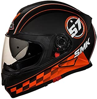 SMK MA276 Twister Blade Graphics Pinlock Fitted Full Face Helmet With Clear Visor (Matt Black, Orange and Grey, XL)